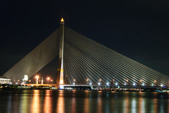 Rama 8 Bridge at night Stock Photography