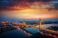 Rama 9 bridge. View from top of building, Beautiful bridge and river landscapes bird`s eye view during sunset, Bangkok Thailand royalty free stock photos