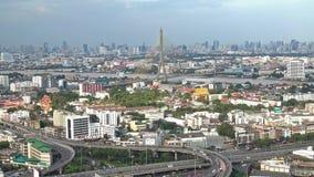 Rama 8 bridge and skyscrapers in Bangkok City, Thailand. Rama 8 bridge and skyscrapers at noon in Bangkok City, Thailand stock video