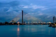 Rama 8 bridge. Rama 8 suspension bridge at night Stock Image