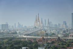 Rama Bridge- und Bangkok-Stadt-Ansicht Stockfoto