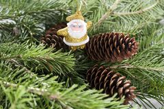 Rama de árbol con Santa Claus Tarjetas de la Navidad o del Año Nuevo Fotos de archivo