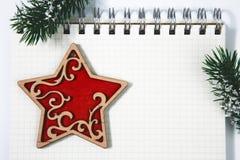Rama de árbol de abeto del concepto de la Navidad, ángel de madera rojo de los juguetes y coc Fotos de archivo