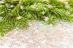 Rama de árbol de abeto y chuchería de los juguetes de la Navidad con confeti Fotos de archivo libres de regalías