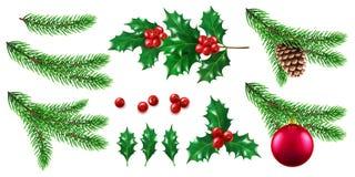 Rama de árbol del pino o de abeto con la baya del juguete y del acebo libre illustration