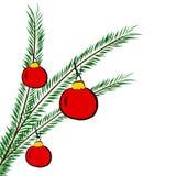 Rama de árbol de navidad con las bolas, libre illustration