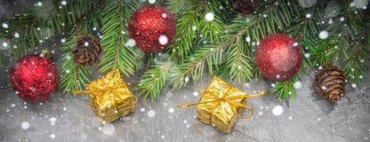 Rama de árbol de navidad con un juguete en un fondo gris Imagen de archivo libre de regalías