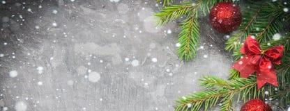 Rama de árbol de navidad con un juguete en un fondo gris Foto de archivo