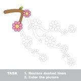 Rama de la cereza del flor que se coloreará Juego del rastro del vector Imagenes de archivo