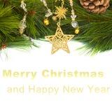Rama de la estrella y del pino de Chrismas Fotografía de archivo libre de regalías