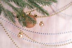 Rama de la Navidad con las bolas de oro Imagenes de archivo