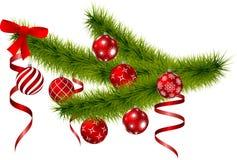 Rama de la Navidad con las bolas de la Navidad de la ejecución Imagen de archivo libre de regalías