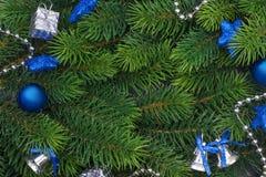 Rama de la Navidad con las decoraciones azules Foto de archivo libre de regalías
