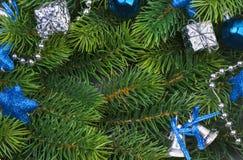 Rama de la Navidad con las decoraciones azules Fotografía de archivo