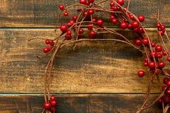 Rama de la Navidad con las frutas rojas Imagen de archivo libre de regalías