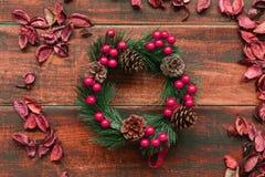 Rama de la Navidad con las frutas rojas Imágenes de archivo libres de regalías