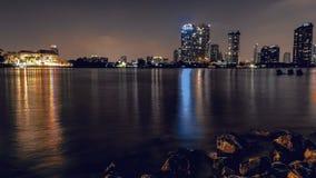 Rama 3 de Nacht van de Rivierphraya van Thailand Bangkok stock foto