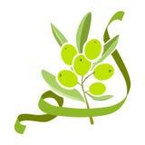 Rama de olivo del icono con la cinta Fotografía de archivo libre de regalías