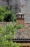 Rama de un árbol con la chimenea vieja del ladrillo en un tejado en el backg Imagen de archivo