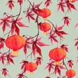 Rama del arce rojo con la linterna de papel Modelo inconsútil del día de fiesta chino watercolor Fotos de archivo libres de regalías