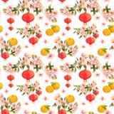 Rama del día de fiesta del mandarín con el ciruelo del flor, linterna de papel roja Modelo inconsútil chino del Año Nuevo waterco Imagen de archivo libre de regalías