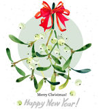 Rama del muérdago Feliz Navidad Feliz Año Nuevo stock de ilustración
