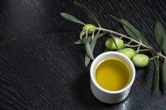 Rama del olivo con las bayas de la aceituna verde y el casquillo de o fresco Foto de archivo libre de regalías