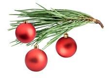 Rama del pino con los conos y las bolas de la Navidad foto de archivo