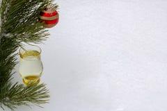 Rama del pino con una copa de vino y una esfera roja Fotos de archivo libres de regalías