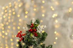 Rama del pino de la Navidad con las decoraciones y las bolas Imagenes de archivo