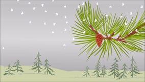Rama del pino del invierno con vídeo del tema de la Navidad del cono de la nieve y del pino ilustración del vector