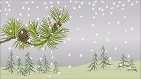 Rama del pino del paisaje del invierno con vídeo del tema de la Navidad del cono de la nieve y del pino libre illustration