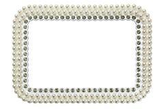 Rama dla fotografii z perłami odizolowywać na białym tle Fotografia Stock