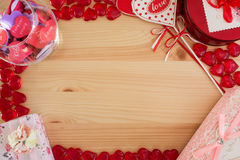 Rama dla listów miłosnych z sercami Zdjęcie Royalty Free