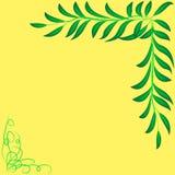 Rama dla tekst dekoraci z liśćmi, zielonożółta Zdjęcie Stock