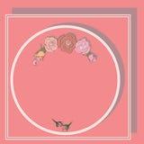 Rama dla teksta, round z różami i cieniami Obraz Royalty Free