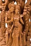 Rama e la sua scultura del legno di Sita della moglie immagini stock