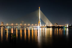 Rama Eight Bridge i Bangkok Arkivbild