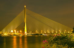 The Rama eight bridge at night in Bangkok Royalty Free Stock Images