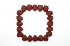 Rama, granica gummi truskawki czerwona galareta Zdjęcia Royalty Free
