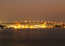 Rama III bridge across Chao Phraya river at night. Stock Image
