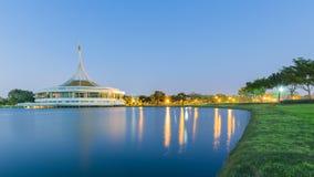 Rama IX Bangkok public park monument during twilight Royalty Free Stock Photography