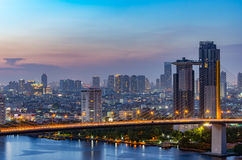 Rama IX Bridge and city. Bangkok Expressway and Rama IX Bridge Cityscape top view, with building in the background in the business district Stock Photos