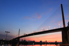 Rama IX Bridge before morning in Bangkok Stock Photography