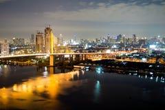 Rama IX Bridge. At night Royalty Free Stock Image