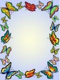 Rama jaskrawi motyle na delikatnym błękitnym tle, Obraz Royalty Free