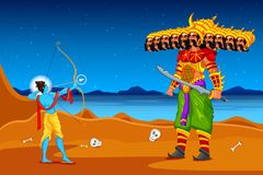 Rama killing Ravana in Dussehra. Easy to edit vector illustration of Rama killing Ravana in Dussehra Stock Image
