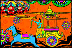 Rama killing Ravana for Dussehra. Easy to edit vector illustration of Rama killing Ravana for Dussehra in Indian art style background Stock Photography