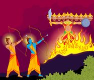 Rama killing Ravana during Dussehra Stock Images