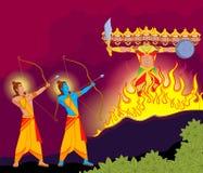 Rama killing Ravana during Dussehra. In vector Stock Images